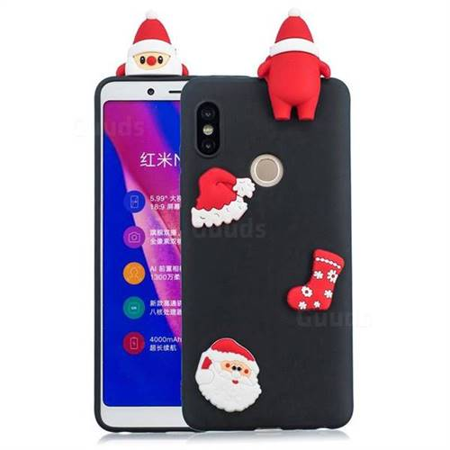 Black Santa Claus Christmas Xmax Soft 3D Silicone Case for Xiaomi Redmi Note 5 Pro