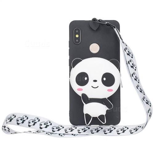 White Panda Neck Lanyard Zipper Wallet Silicone Case for Xiaomi Redmi Note 5 Pro