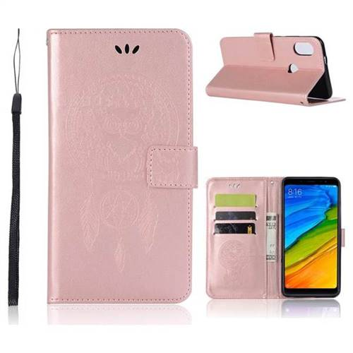 reputable site 32aea 1673e Intricate Embossing Owl Campanula Leather Wallet Case for Xiaomi Redmi Note  5 Pro - Rose Gold