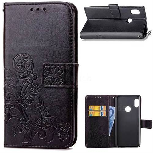 Embossing Imprint Four-Leaf Clover Leather Wallet Case for Xiaomi Redmi Note 5 Pro - Black