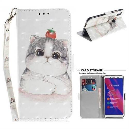 Cute Tomato Cat 3D Painted Leather Wallet Phone Case for Xiaomi Redmi Note 5 Pro