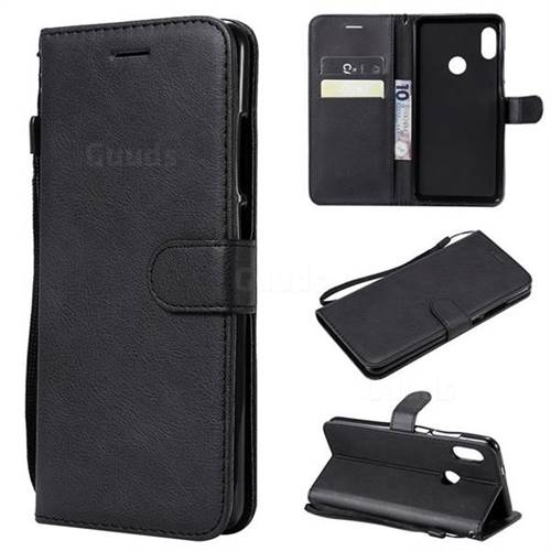 Retro Greek Classic Smooth PU Leather Wallet Phone Case for Xiaomi Redmi Note 5 Pro - Black