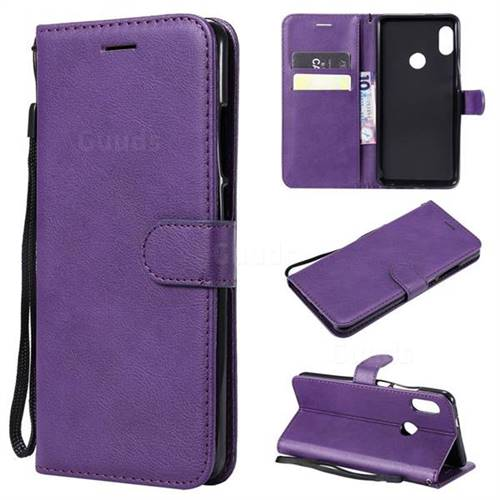 Retro Greek Classic Smooth PU Leather Wallet Phone Case for Xiaomi Redmi Note 5 Pro - Purple