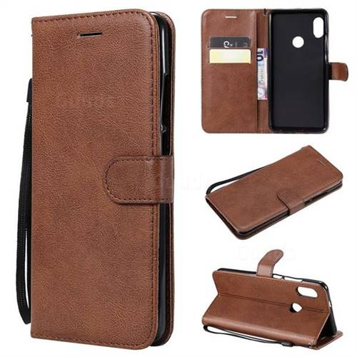 Retro Greek Classic Smooth PU Leather Wallet Phone Case for Xiaomi Redmi Note 5 Pro - Brown