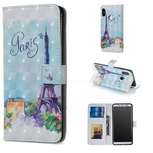 Paris Tower 3D Painted Leather Phone Wallet Case for Xiaomi Redmi Note 5 Pro