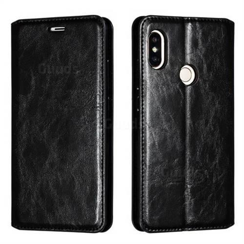 Retro Slim Magnetic Crazy Horse PU Leather Wallet Case for Xiaomi Redmi Note 5 Pro - Black
