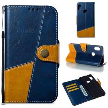 Retro Magnetic Stitching Wallet Flip Cover for Xiaomi Redmi Note 5 Pro - Blue