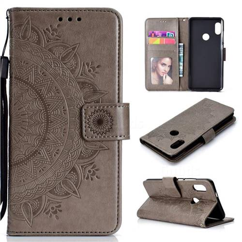 Intricate Embossing Datura Leather Wallet Case for Xiaomi Redmi Note 5 Pro - Gray