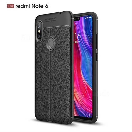 Luxury Auto Focus Litchi Texture Silicone TPU Back Cover for Mi Xiaomi Redmi Note 6 - Black