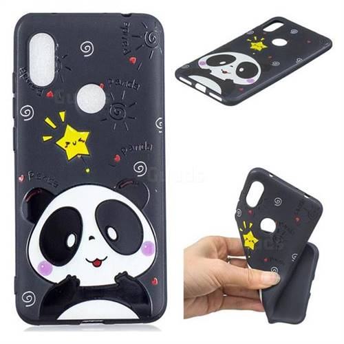 Cute Bear 3D Embossed Relief Black TPU Cell Phone Back Cover for Mi Xiaomi Redmi Note 6