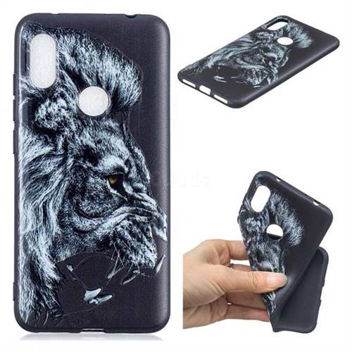 Lion 3D Embossed Relief Black TPU Cell Phone Back Cover for Mi Xiaomi Redmi Note 6
