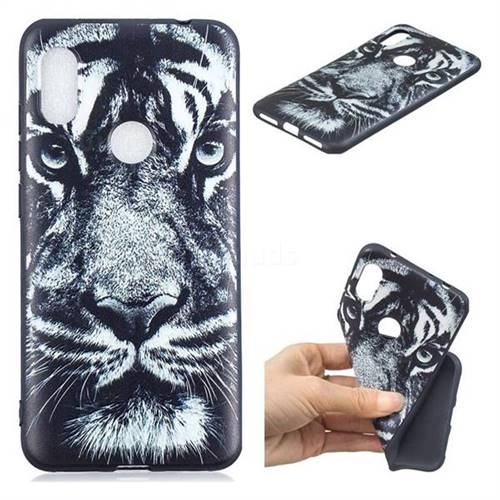 White Tiger 3D Embossed Relief Black TPU Cell Phone Back Cover for Mi Xiaomi Redmi Note 6