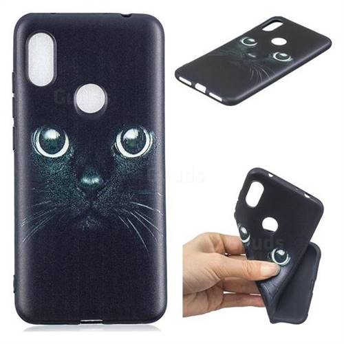 Bearded Feline 3D Embossed Relief Black TPU Cell Phone Back Cover for Mi Xiaomi Redmi Note 6