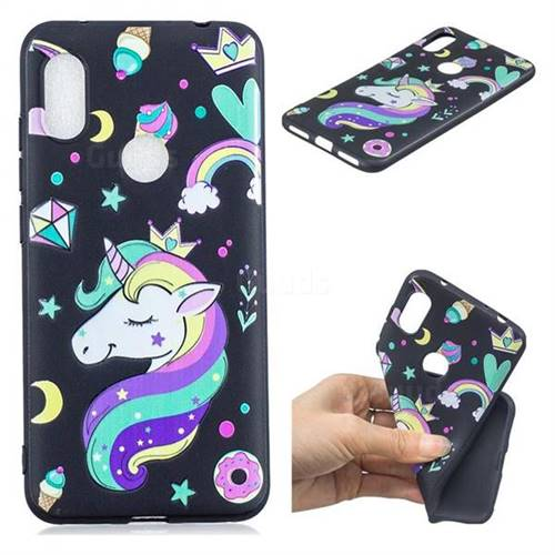 Candy Unicorn 3D Embossed Relief Black TPU Cell Phone Back Cover for Mi Xiaomi Redmi Note 6