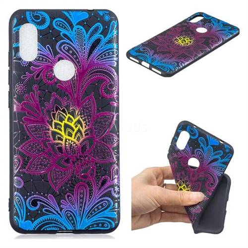 Colorful Lace 3D Embossed Relief Black TPU Cell Phone Back Cover for Mi Xiaomi Redmi Note 6
