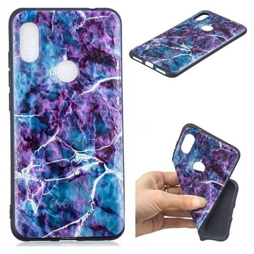 Marble 3D Embossed Relief Black TPU Cell Phone Back Cover for Mi Xiaomi Redmi Note 6