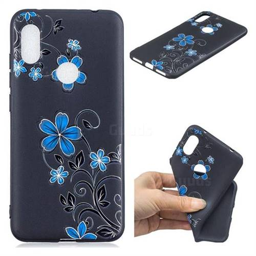 Little Blue Flowers 3D Embossed Relief Black TPU Cell Phone Back Cover for Mi Xiaomi Redmi Note 6
