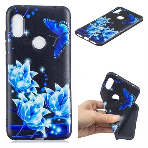 Blue Butterfly 3D Embossed Relief Black TPU Cell Phone Back Cover for Mi Xiaomi Redmi Note 6