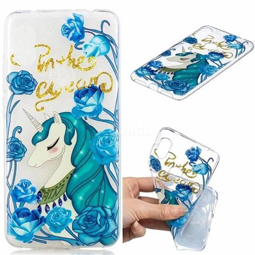 Blue Flower Unicorn Clear Varnish Soft Phone Back Cover for Mi Xiaomi Redmi Note 6