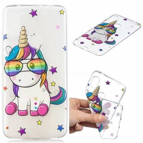 Glasses Unicorn Clear Varnish Soft Phone Back Cover for Mi Xiaomi Redmi Note 6