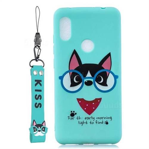 Green Glasses Dog Soft Kiss Candy Hand Strap Silicone Case for Mi Xiaomi Redmi Note 6