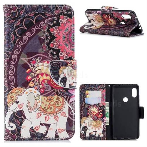Totem Flower Elephant Leather Wallet Case for Mi Xiaomi Redmi Note 6
