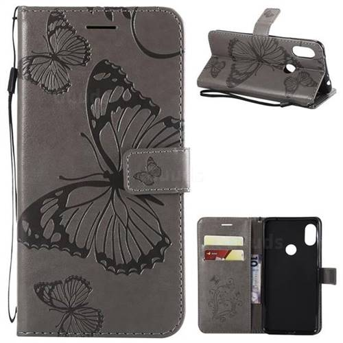 Embossing 3D Butterfly Leather Wallet Case for Mi Xiaomi Redmi Note 6 - Gray