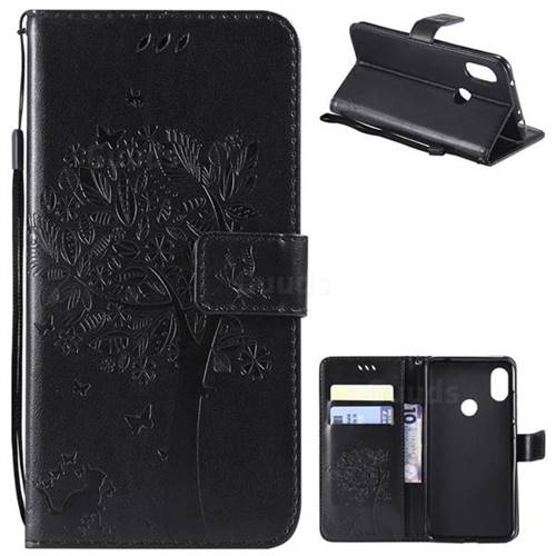 Embossing Butterfly Tree Leather Wallet Case for Mi Xiaomi Redmi Note 6 - Black