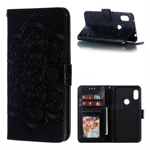 Intricate Embossing Datura Solar Leather Wallet Case for Mi Xiaomi Redmi Note 6 - Black