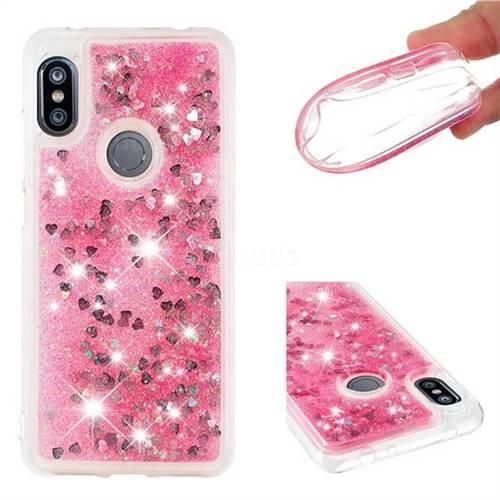 Dynamic Liquid Glitter Quicksand Sequins TPU Phone Case for Mi Xiaomi Redmi Note 6 Pro - Rose