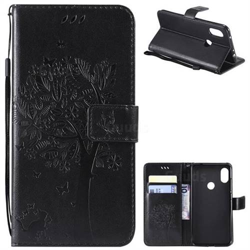 Embossing Butterfly Tree Leather Wallet Case for Mi Xiaomi Redmi Note 6 Pro - Black