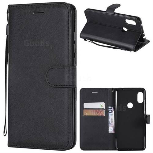 Retro Greek Classic Smooth PU Leather Wallet Phone Case for Mi Xiaomi Redmi Note 6 Pro - Black