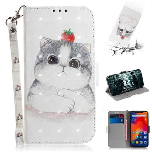 Cute Tomato Cat 3D Painted Leather Wallet Phone Case for Mi Xiaomi Redmi Note 6 Pro