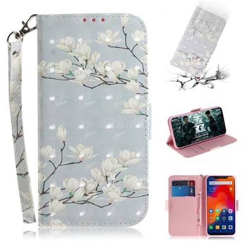 Magnolia Flower 3D Painted Leather Wallet Phone Case for Mi Xiaomi Redmi Note 6 Pro