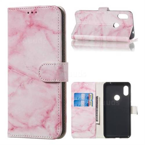 Pink Marble PU Leather Wallet Case for Mi Xiaomi Redmi Note 6 Pro