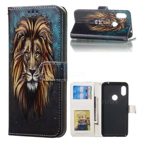 Ice Lion 3D Relief Oil PU Leather Wallet Case for Mi Xiaomi Redmi Note 6 Pro