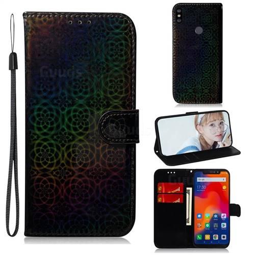 Laser Circle Shining Leather Wallet Phone Case for Mi Xiaomi Redmi Note 6 Pro - Black