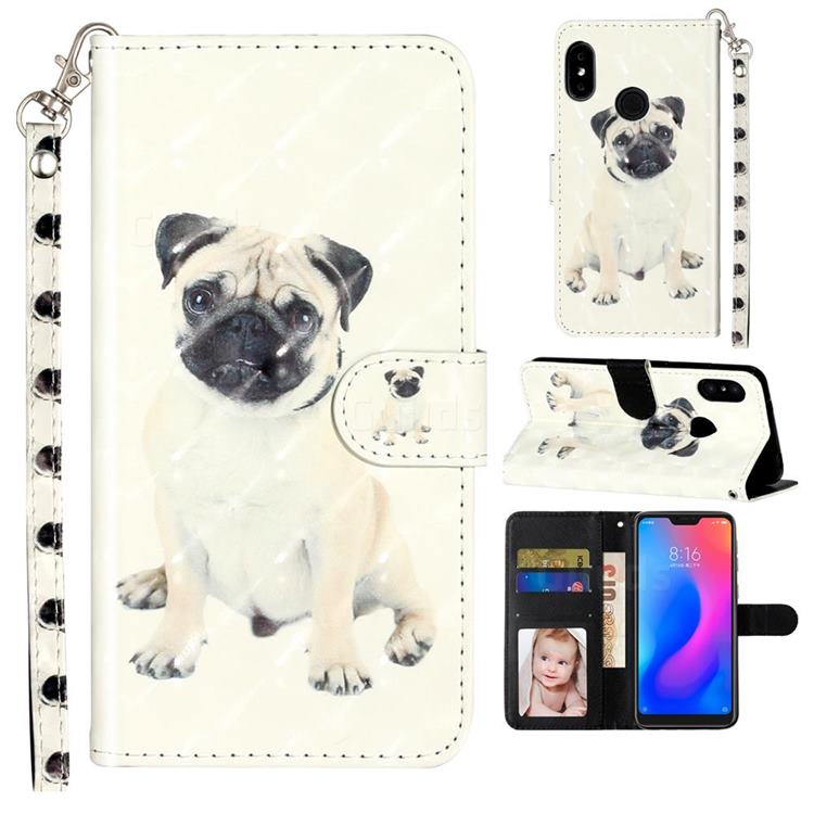 Pug Dog 3D Leather Phone Holster Wallet Case for Mi Xiaomi Redmi Note 6 Pro