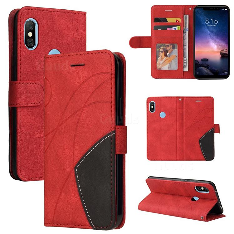 Luxury Two-color Stitching Leather Wallet Case Cover for Mi Xiaomi Redmi Note 6 Pro - Red