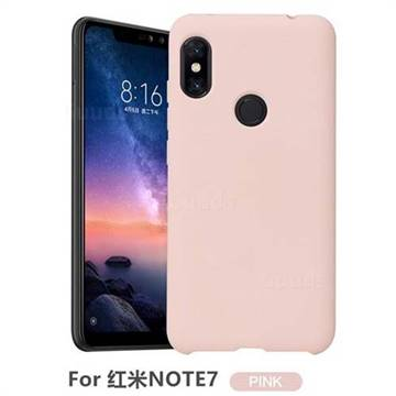 Howmak Slim Liquid Silicone Rubber Shockproof Phone Case Cover for Xiaomi Mi Redmi Note 7 / Note 7 Pro - Pink