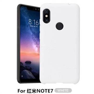 Howmak Slim Liquid Silicone Rubber Shockproof Phone Case Cover for Xiaomi Mi Redmi Note 7 / Note 7 Pro - White
