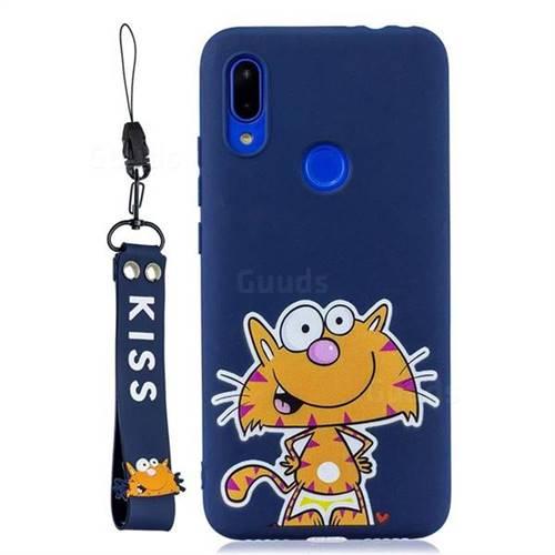 Blue Cute Cat Soft Kiss Candy Hand Strap Silicone Case for Xiaomi Mi Redmi Note 7 / Note 7 Pro