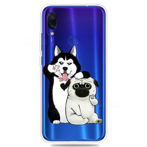 Selfie Dog Clear Varnish Soft Phone Back Cover for Xiaomi Mi Redmi Note 7 / Note 7 Pro