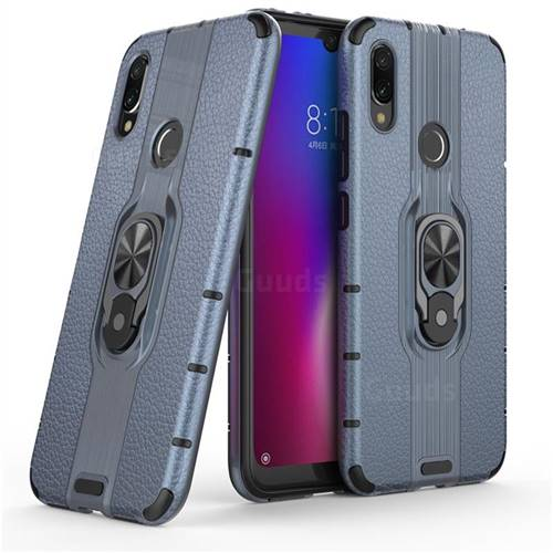 Alita Battle Angel Armor Metal Ring Grip Shockproof Dual Layer Rugged Hard Cover for Xiaomi Mi Redmi Note 7 / Note 7 Pro - Blue