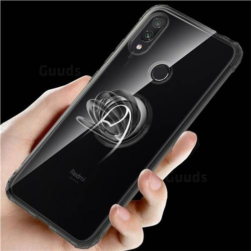 Anti-fall Invisible Press Bounce Ring Holder Phone Cover for Xiaomi Mi Redmi Note 7 / Note 7 Pro - Elegant Black