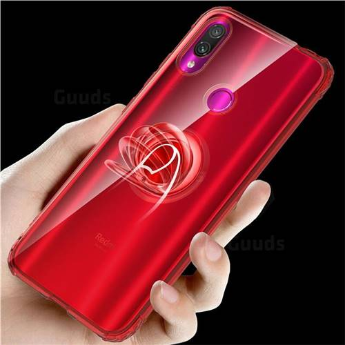 Anti-fall Invisible Press Bounce Ring Holder Phone Cover for Xiaomi Mi Redmi Note 7 / Note 7 Pro - Noble Red