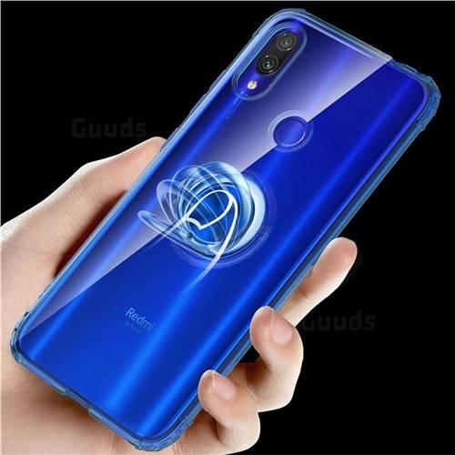 Anti-fall Invisible Press Bounce Ring Holder Phone Cover for Xiaomi Mi Redmi Note 7 / Note 7 Pro - Sapphire Blue