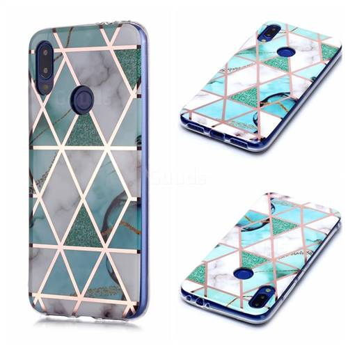 Green White Galvanized Rose Gold Marble Phone Back Cover for Xiaomi Mi Redmi Note 7 / Note 7 Pro