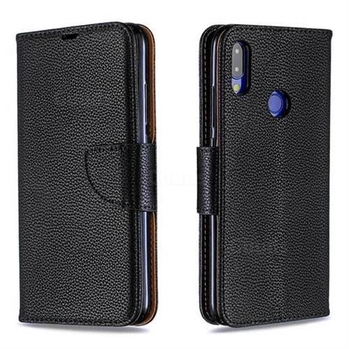 Classic Luxury Litchi Leather Phone Wallet Case for Xiaomi Mi Redmi Note 7 / Note 7 Pro - Black