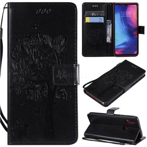 Embossing Butterfly Tree Leather Wallet Case for Xiaomi Mi Redmi Note 7 / Note 7 Pro - Black